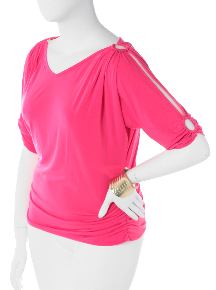 Plus Size Open Sleeve Adorned Pink Top