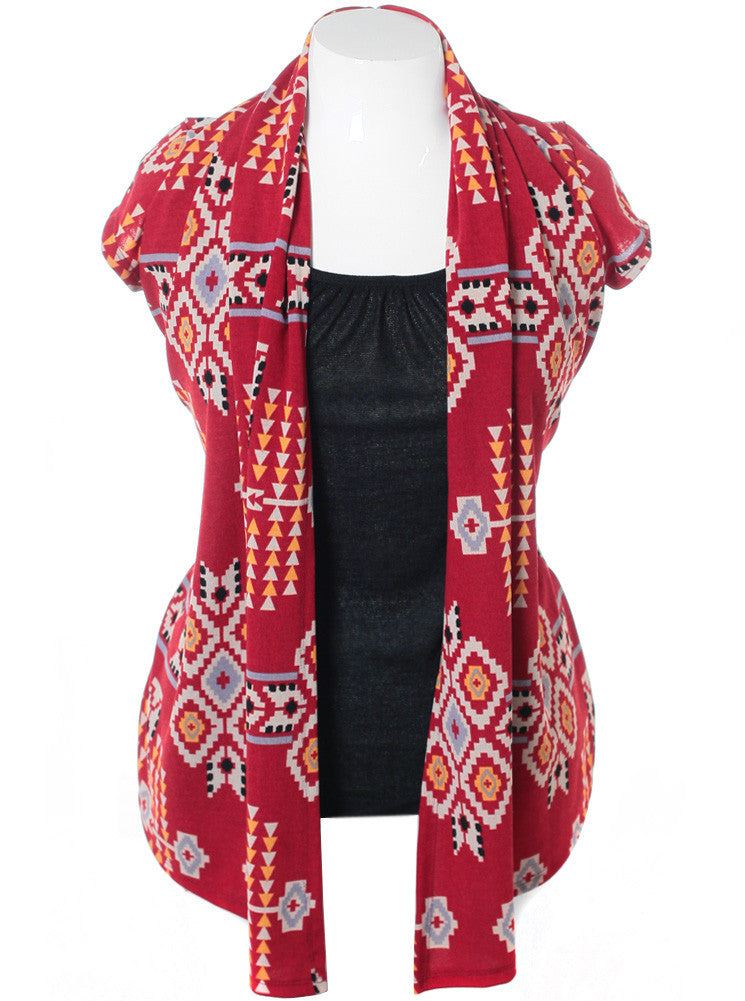 Plus Size Aztec Red Cardigan Complete Top