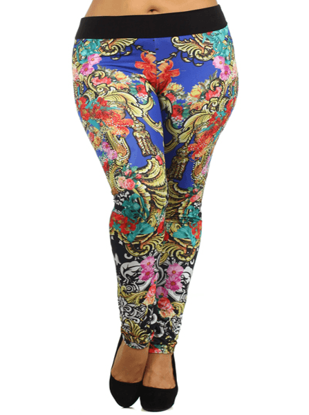 Plus Size Rose Floral Scroll Print Leggings