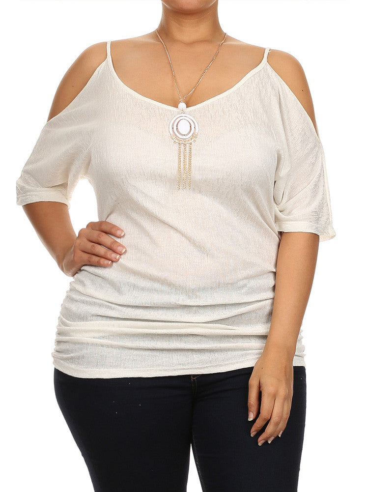 Plus Size Ruched Cut Out Shoulders White Tunic