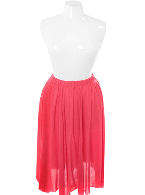 Plus Size Sexy Sheer Maxi Coral Skirt
