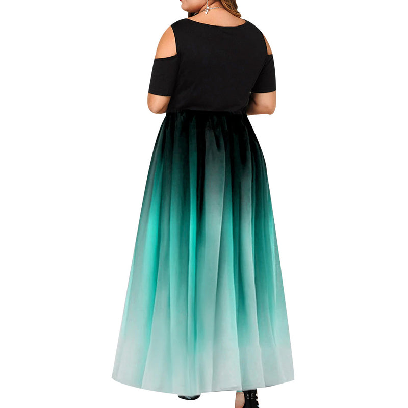 Plus Size Gradient Cold Shoulder Pleated Maxi Dress