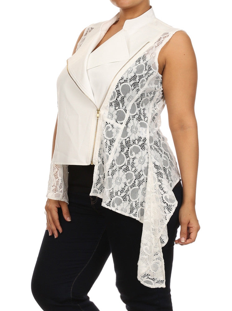 Plus Size Draped Floral Lace White Vest