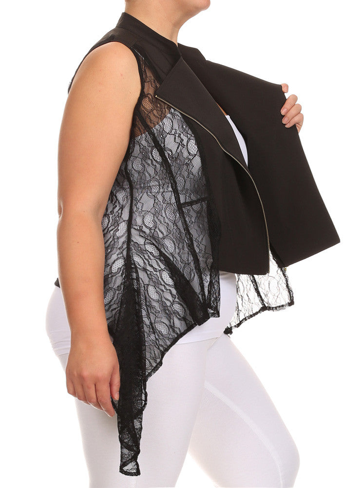 Plus Size Sexy Zipper Sheer Black Vest