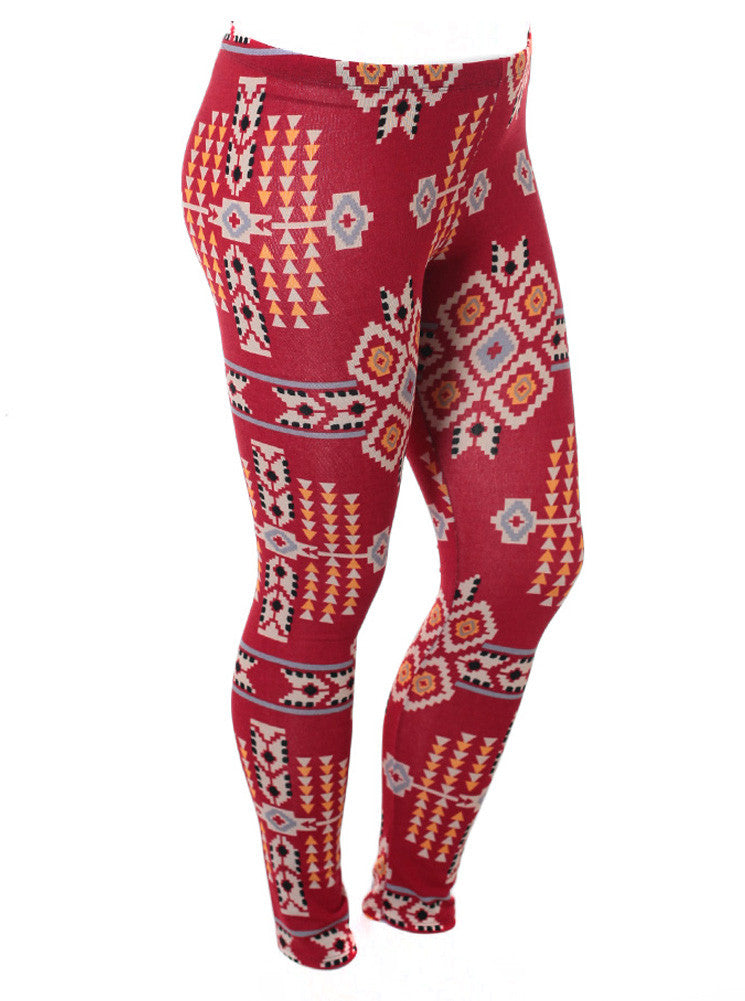 Plus Size Tribal Print Red Leggings