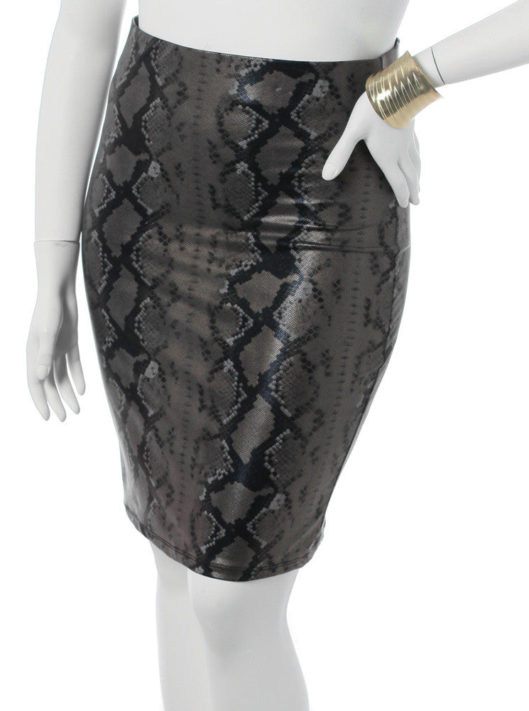 Plus Size Metallic Snake Olive Skirt
