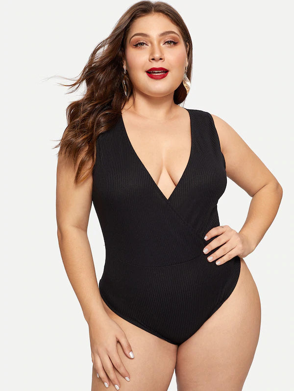Plus Size Deep V-Neck Ribbed Vest Bodysuit