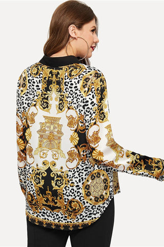 Plus Size Designer Queen Gold Print Blouse Top