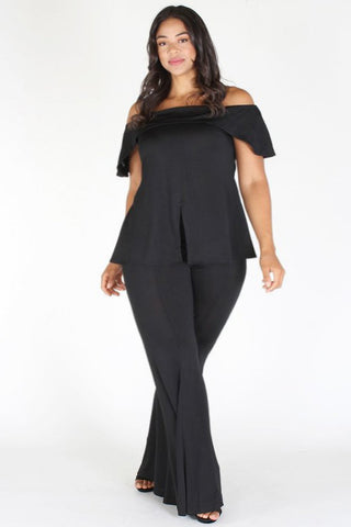 Plus Size Chick Off Shoulder Top & Bell Bottom Set [PRE-ORDER 25% OFF]