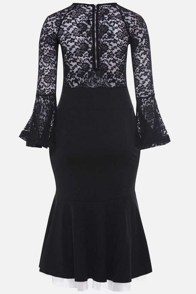 Plus Size See Through Black Sexy Lace Dress
