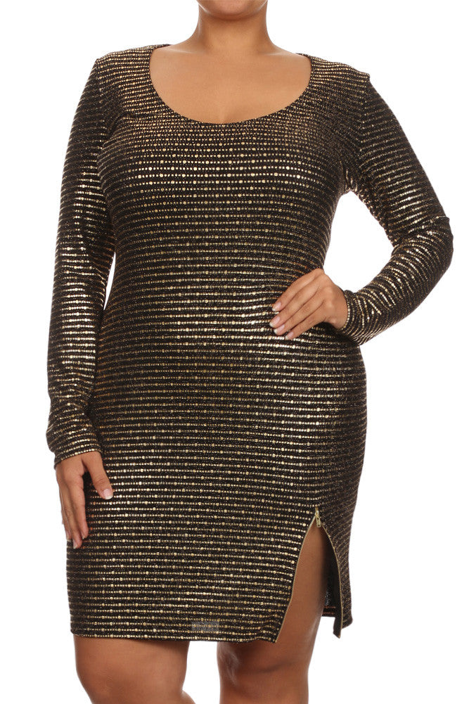 Plus Size Steal The Spotlight Zipper Hem Dress