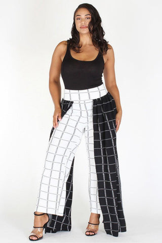 Plus Size Mod Style Grid Layered Wide Leg Pants [PRE-ORDER 25% OFF]
