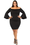 Flared Sleeves Boat Neckline Plus Size Dress