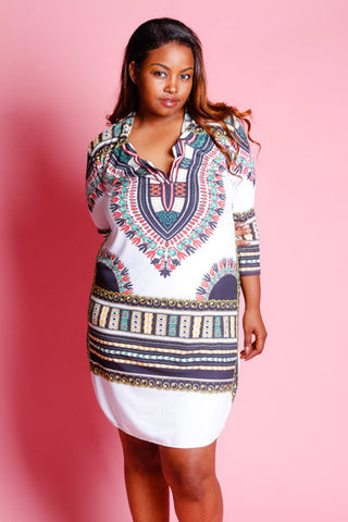 Plus Size Detailed Dashiki Collar Mini Dress