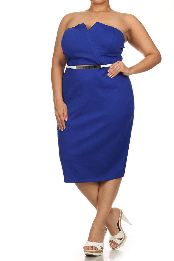 Plus Size Own The Night Cross Over Blue Dress