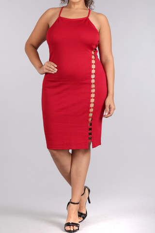 Hottie Cut Out Crossed Back Plus Size Dress