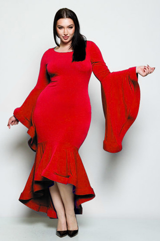Plus Size Glam Bell Sleeve Mermaid Dress