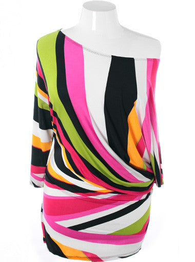 Plus Size Sexy Abstract Pink Unique Mini Dress