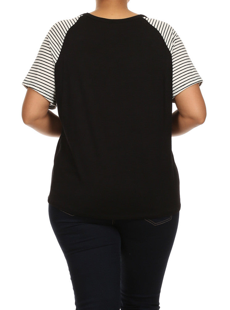 Plus Size Bonjour Striped Sleeves Top