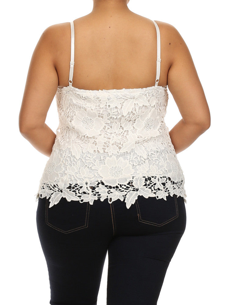 Plus Size Sun Kissed Floral Crochet White Top