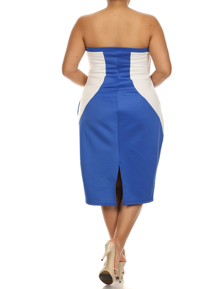Plus Size Chic Color block Blue Tube Dress