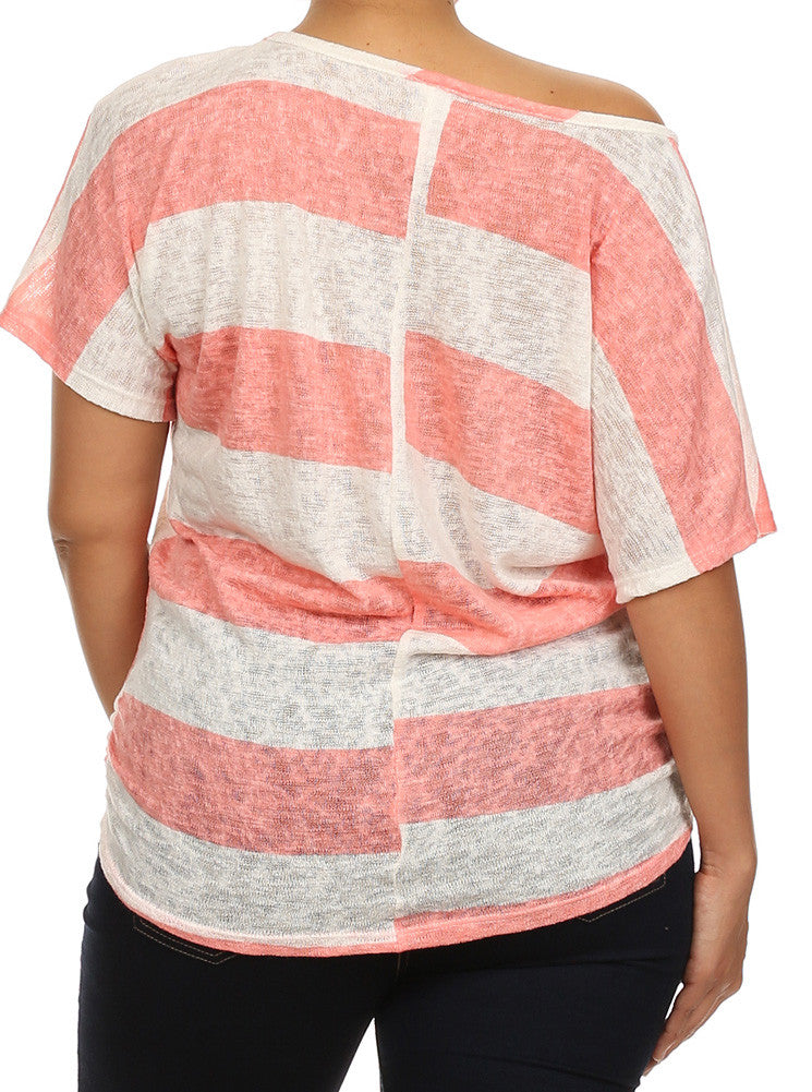 Plus Size Striped See Through Knit Pink Top