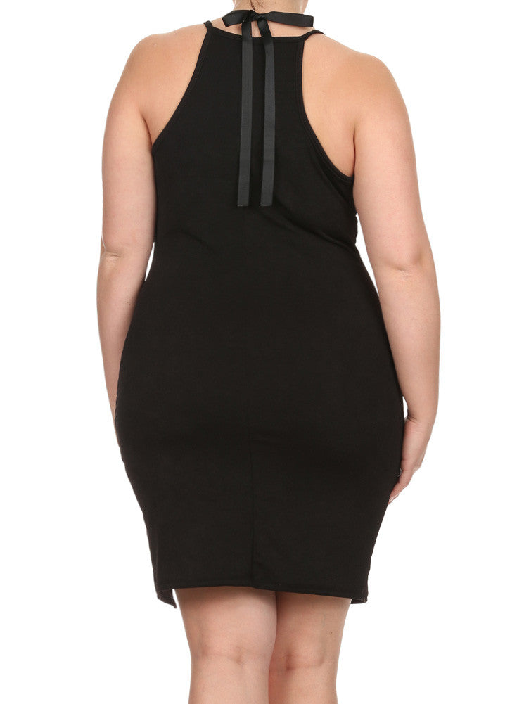 Plus Size Glam Princess Black Bodycon Dress