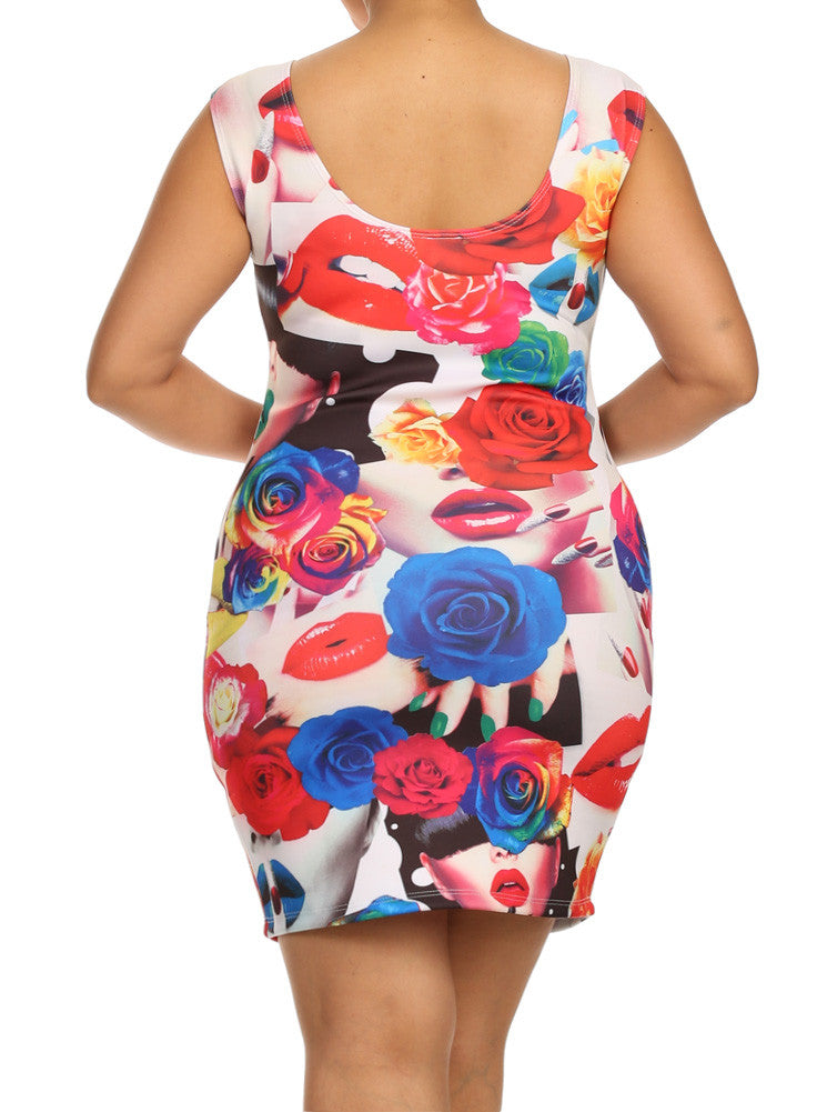 Plus Size Bed Of Roses Kisses Graphic Dress