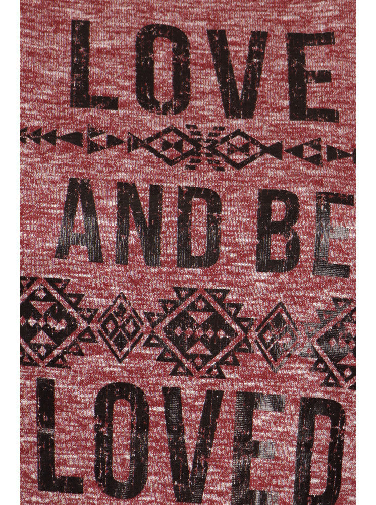 Plus Size Love And Be Loved Knitted Red Top