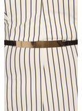 Plus Size Sexy Striped Wide Leg Belted White Jumpsuit
