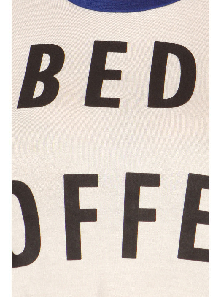 Plus Size Bed, Coffee, WiFi Raglan Blue Top
