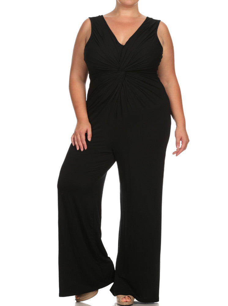 Plus Size Adorable Front Knot Black Jumpsuit