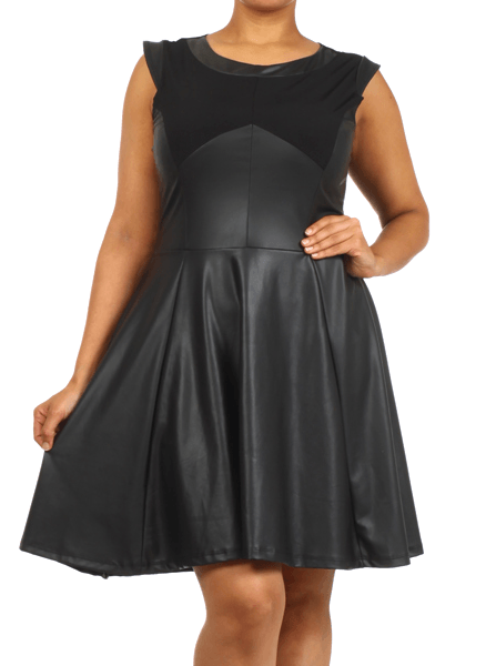 Plus Size Fauxy Girl Skater Leather Dress