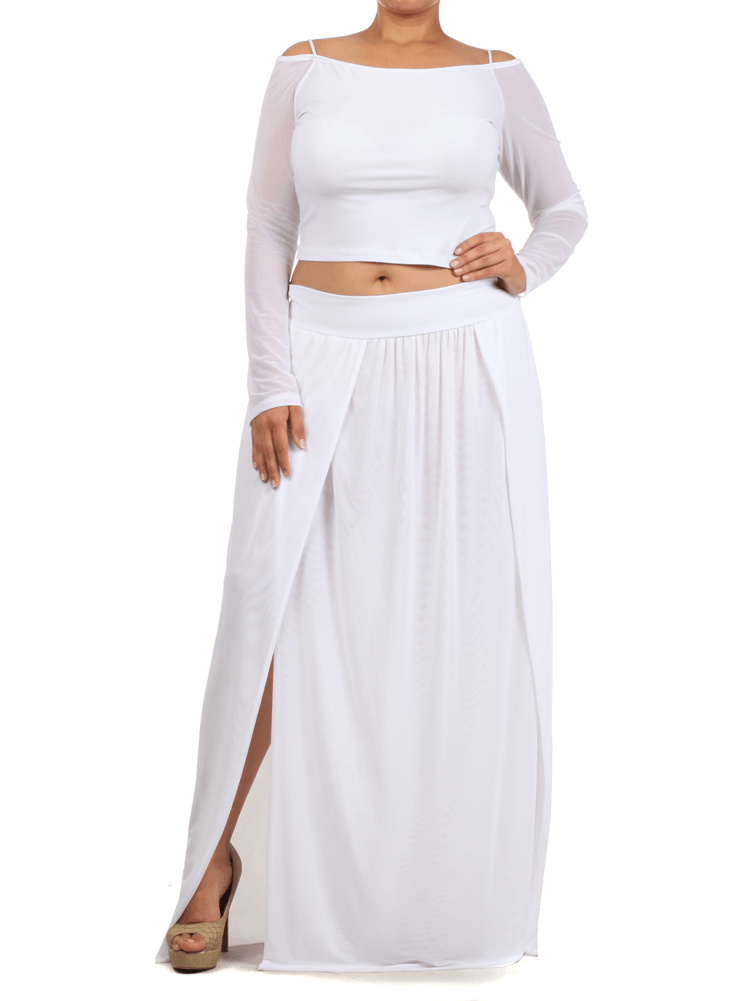 Plus Size Sexy Crop Top Scuba Mesh White Skirt Set