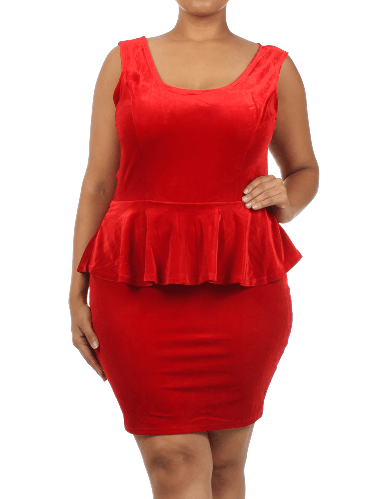 Plus Size Velvet Bow Back Red Peplum Dress