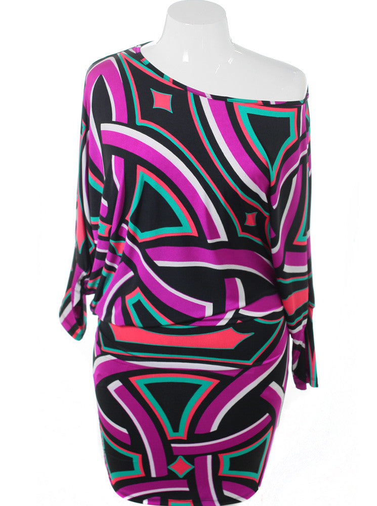 Plus Size Silky Abstract Asymmetrical Dress
