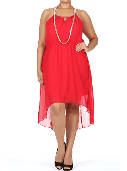 Gilded Neckline Dip Hem Red Chiffon Dress