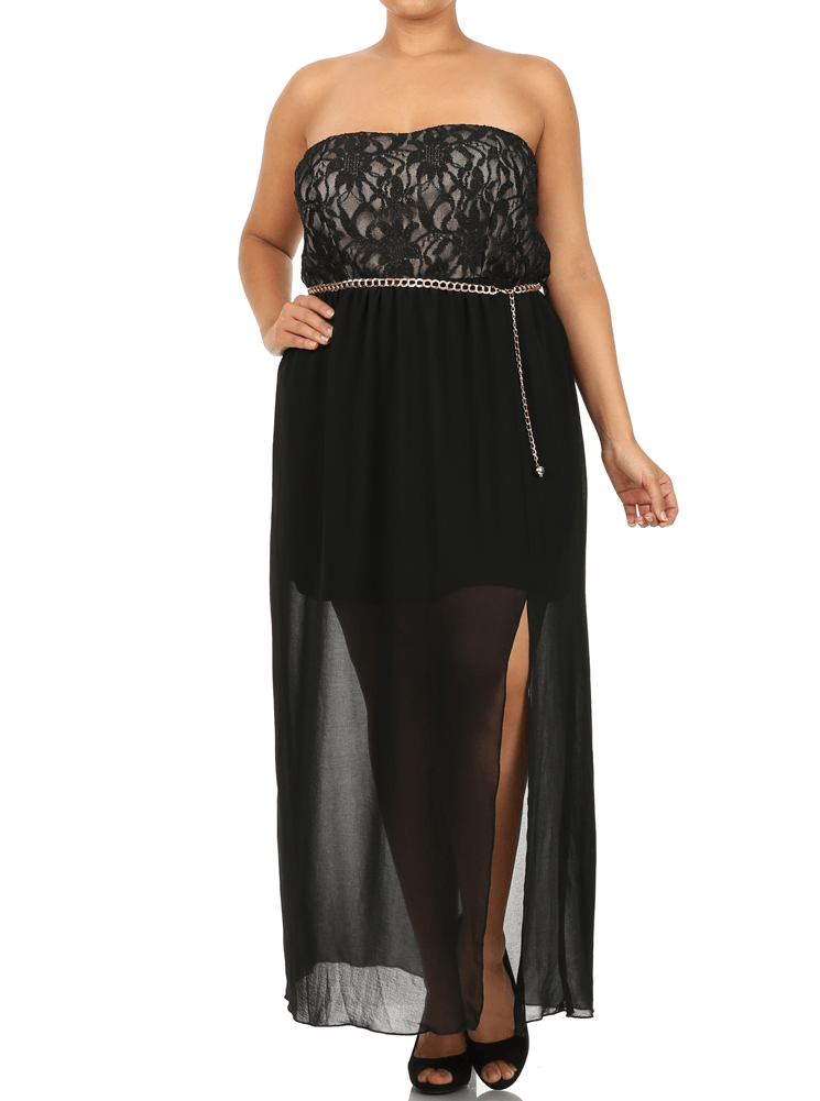 Plus Size Sparkling Floral Lace Belted Sheer Maxi Dress