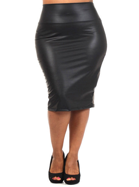 Plus Size Leather Midi Black Skirt