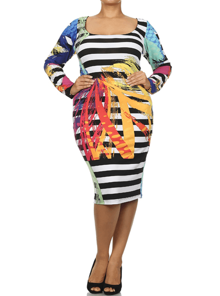 Plus Size Striped Artsy Midi Dress