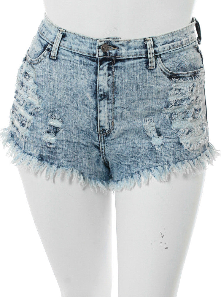 Plus Size Acid Frayed Denim Slashed Shorts