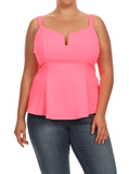 Plus Size Darling Textured Flared Neon Pink Top