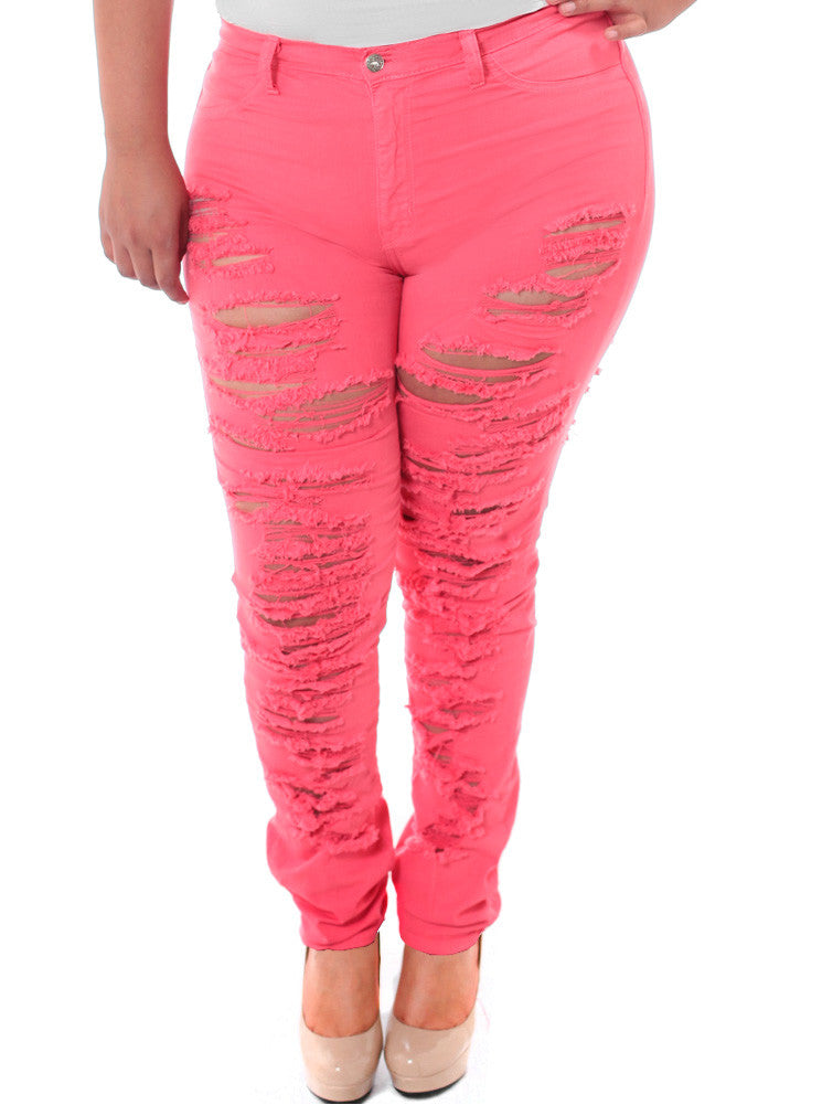 Plus Size High Waist Slashed Pink Jeans