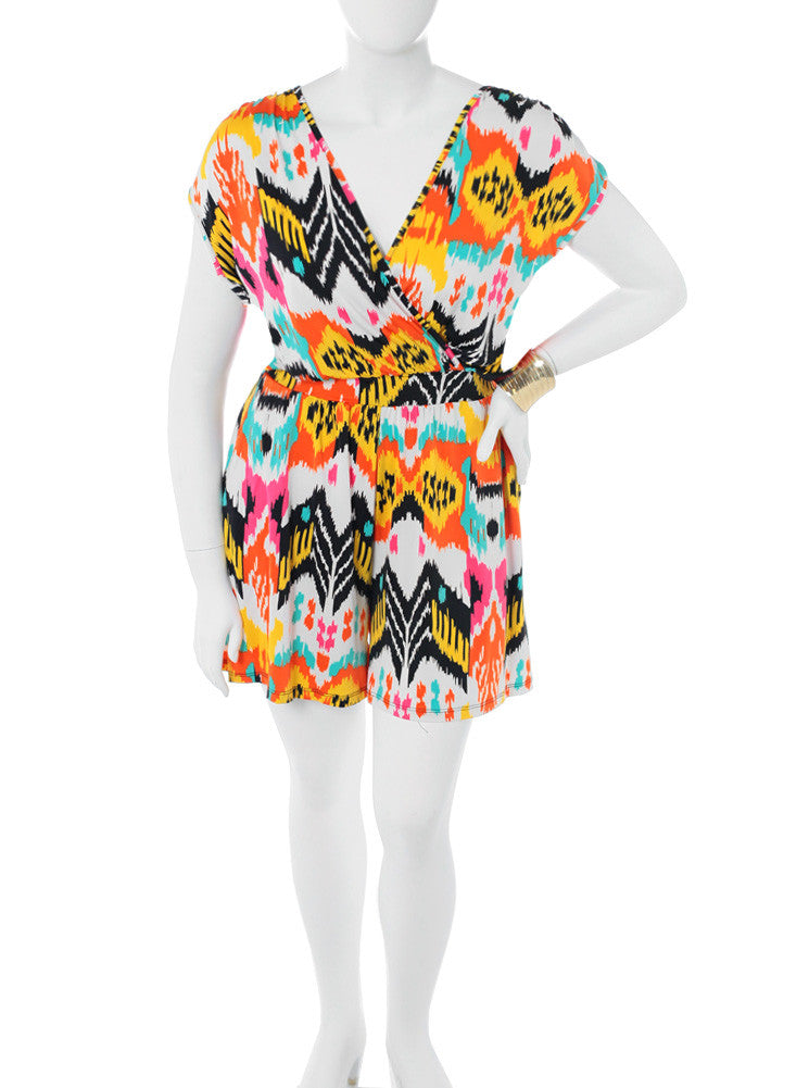 Plus Size Colorful Electric Orange Romper
