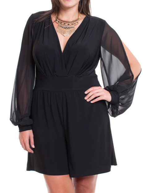 Plus Size Charming Cut Out Sheer Sleeves Romper