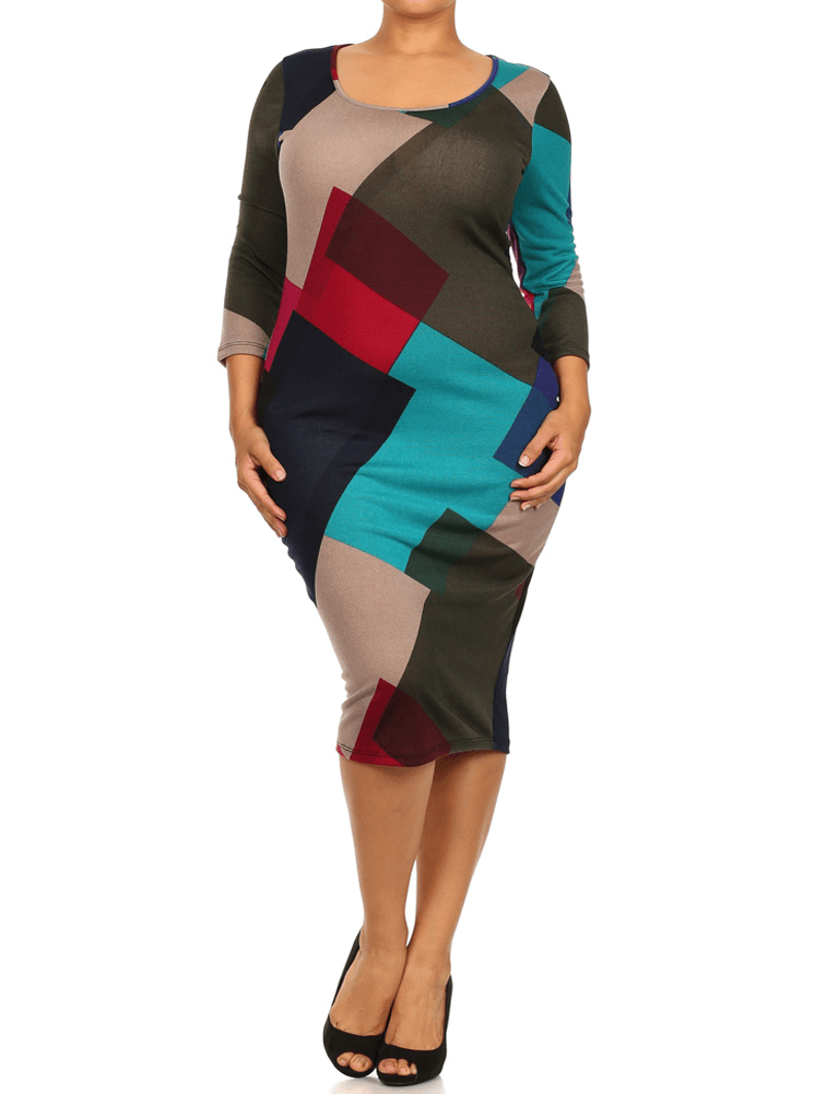 Plus Size Hued Color Block Midi Dress