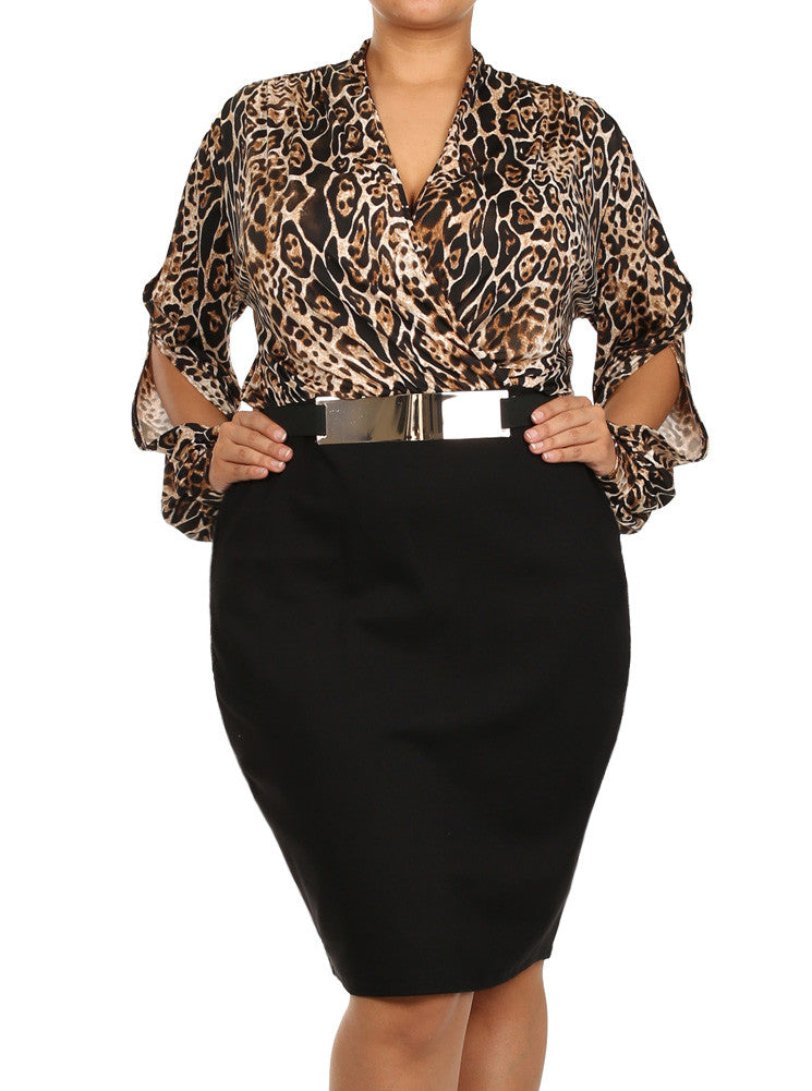 Plus Size Wild Thing Gold Buckle Midi Dress