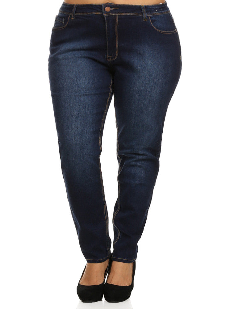 Plus Size Navy Blue Denim Boyfriend Jeans