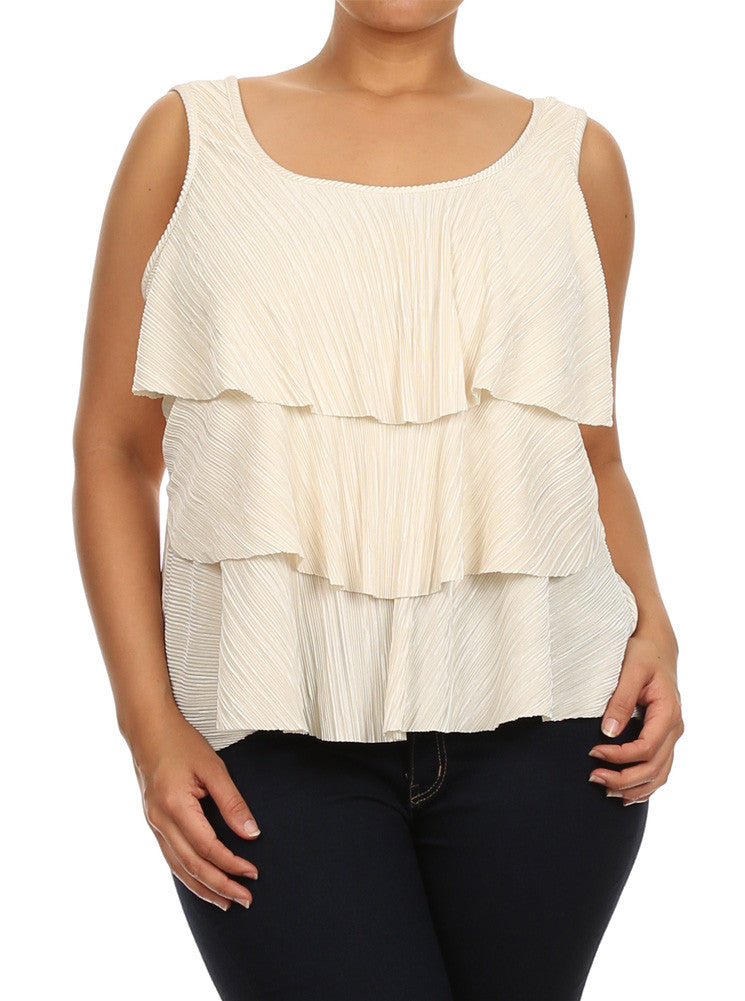 Plus Size Modish Layered Flowy Pearl White Top