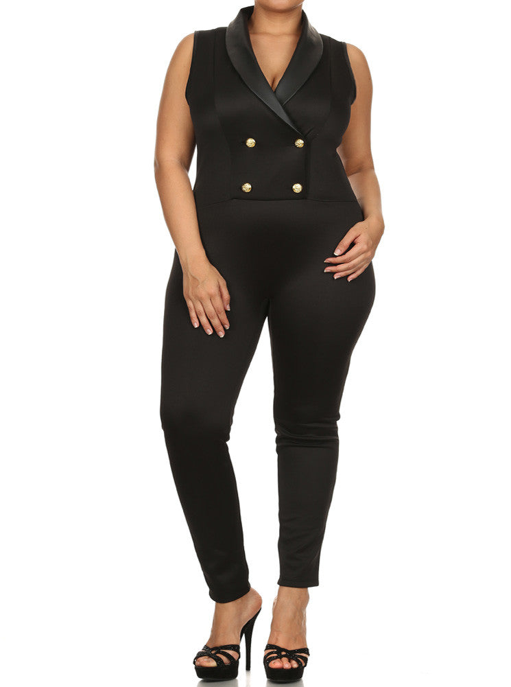 Plus Size Let's Sail Away Buttoned Jumpsuit